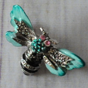 vintage bug insect bee brooch pin teal blue